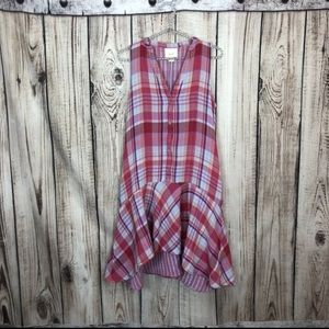 Anthro Maeve Pink Plaid High Low Dress Medium